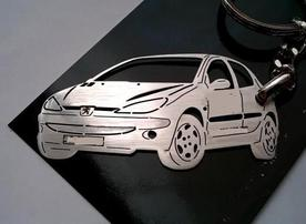 Custom keychain cut Peugeot vehicle 206